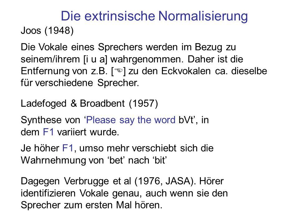 Die extrinsische Normalisierung Joos (1948) Die Vokale eines Sprechers werden im Bezug zu seinem/ihrem [i u a] wahrgenommen. Daher ist die Entfernung