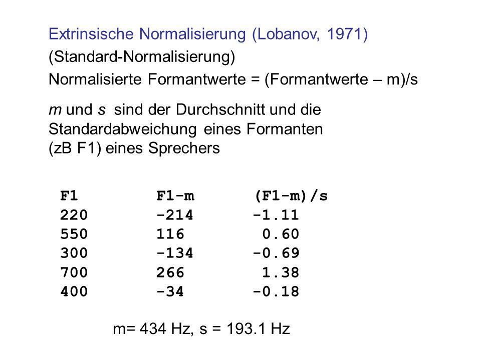 Extrinsische Normalisierung (Lobanov, 1971) Normalisierte Formantwerte = (Formantwerte – m)/s m und s sind der Durchschnitt und die Standardabweichung