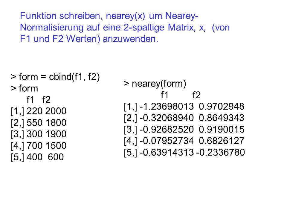 Funktion schreiben, nearey(x) um Nearey- Normalisierung auf eine 2-spaltige Matrix, x, (von F1 und F2 Werten) anzuwenden. > form = cbind(f1, f2) > for