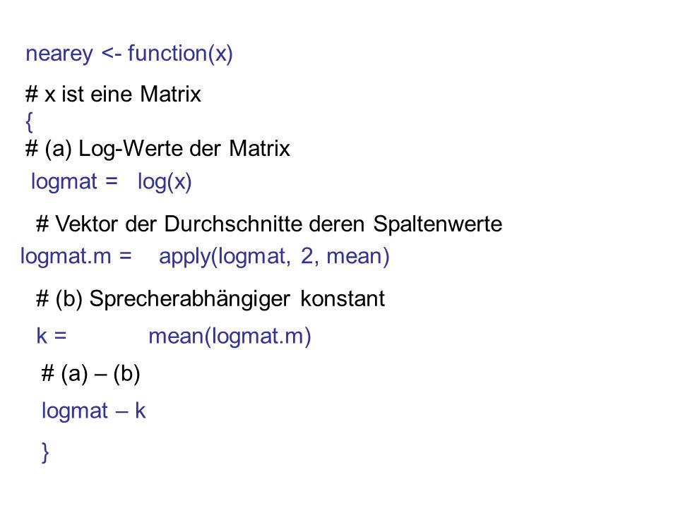 nearey <- function(x) # x ist eine Matrix { # (a) Log-Werte der Matrix logmat = # Vektor der Durchschnitte deren Spaltenwerte logmat.m = # (b) Spreche