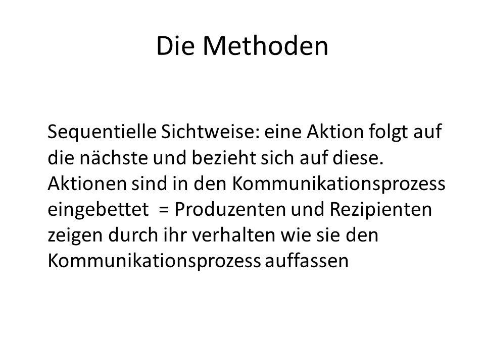 Die Methoden Sequentielle Sichtweise: eine Aktion folgt auf die nächste und bezieht sich auf diese. Aktionen sind in den Kommunikationsprozess eingebe