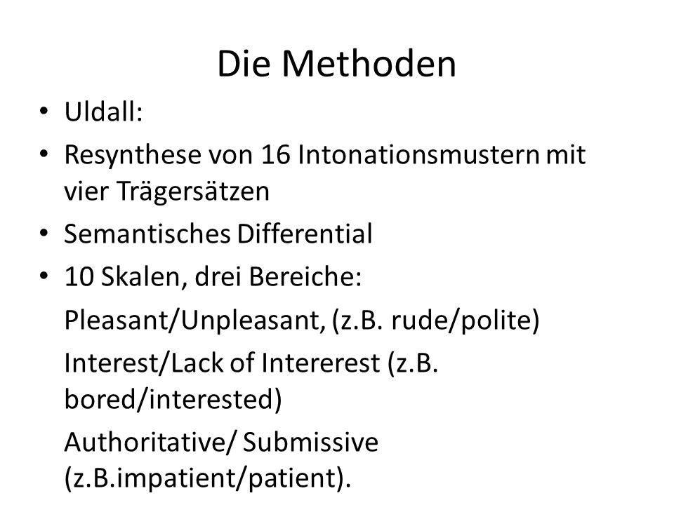 Die Methoden Uldall: Resynthese von 16 Intonationsmustern mit vier Trägersätzen Semantisches Differential 10 Skalen, drei Bereiche: Pleasant/Unpleasan