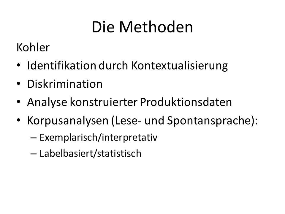 Die Methoden Kohler Identifikation durch Kontextualisierung Diskrimination Analyse konstruierter Produktionsdaten Korpusanalysen (Lese- und Spontanspr