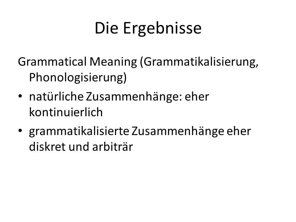 Die Ergebnisse Grammatical Meaning (Grammatikalisierung, Phonologisierung) natürliche Zusammenhänge: eher kontinuierlich grammatikalisierte Zusammenhä