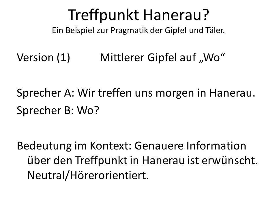 Treffpunkt Hanerau? Ein Beispiel zur Pragmatik der Gipfel und Täler. Version (1)Mittlerer Gipfel auf Wo Sprecher A: Wir treffen uns morgen in Hanerau.