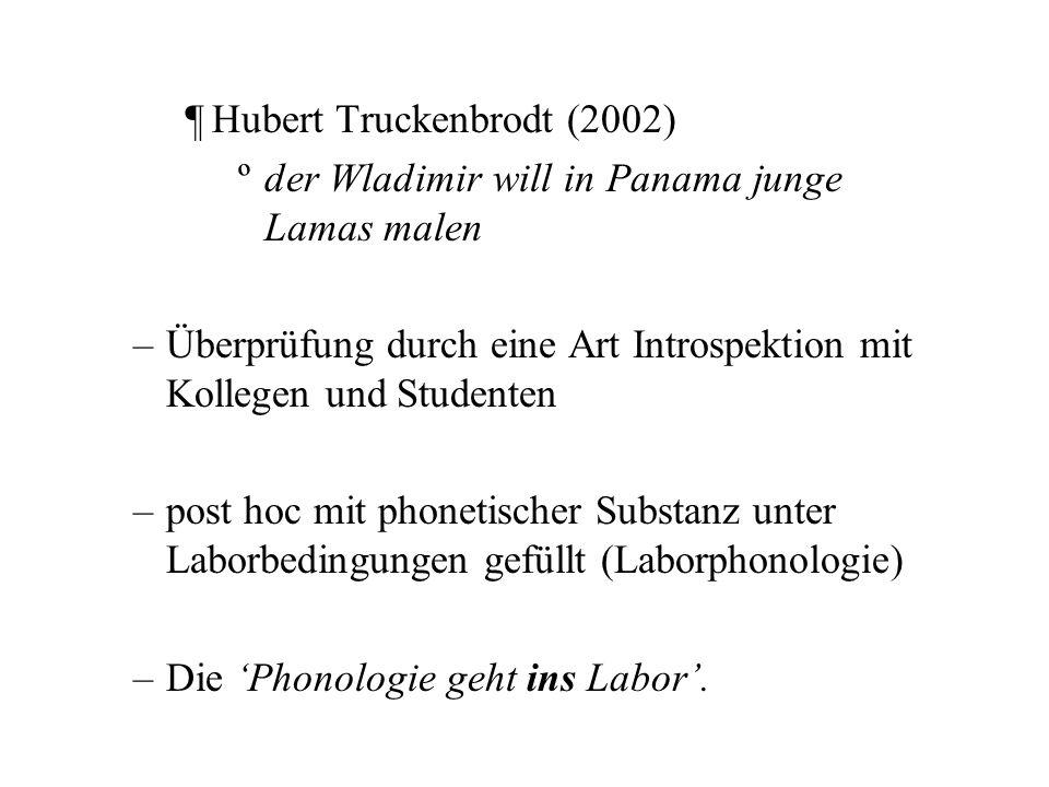 linguistische Methodologie –Sprachbeispiele, gewöhnlich von Satzlänge (und oft zweifelhafter Semantik), werden am Schreibtisch konstruiert ¶Gösta Bruce (1977) ºman vill lämna nåra långa nunnor.