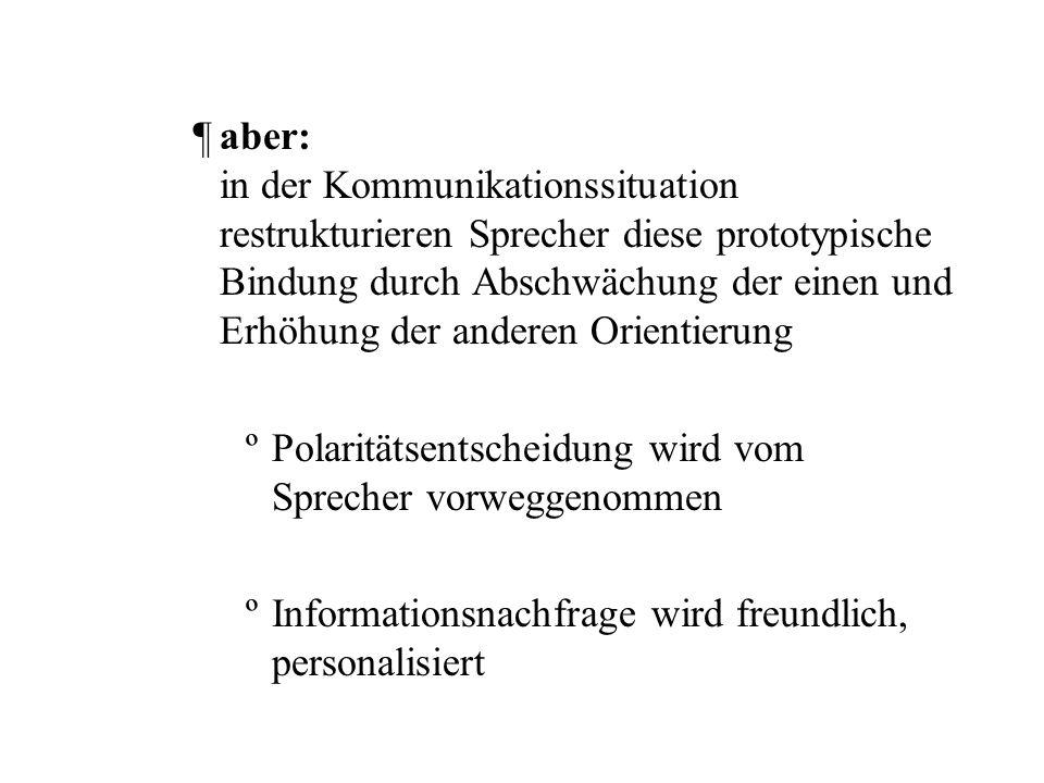Erklärung der Lehrbuchmeinung –prototypische semantisch-pragmatische Funktionen assoziiert mit den syntaktischen Frageformen ¶Fragewortfrage: Adressat