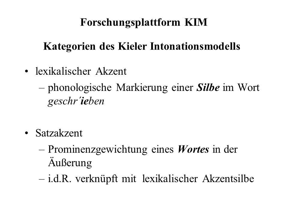 3 Positionen einer Gipfelkontur, bezogen auf das artikulatorische Timing akzentuierter Silben, z.