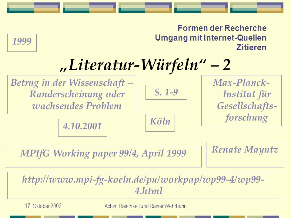 17. Oktober 2002Achim Daschkeit und Rainer Wehrhahn Formen der Recherche Umgang mit Internet-Quellen Zitieren Literatur-Würfeln – 2 Max-Planck- Instit