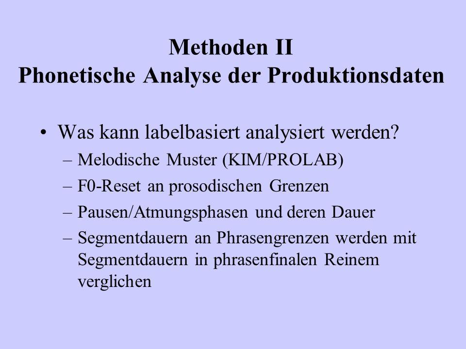 Was kann labelbasiert analysiert werden? –Melodische Muster (KIM/PROLAB) –F0-Reset an prosodischen Grenzen –Pausen/Atmungsphasen und deren Dauer –Segm