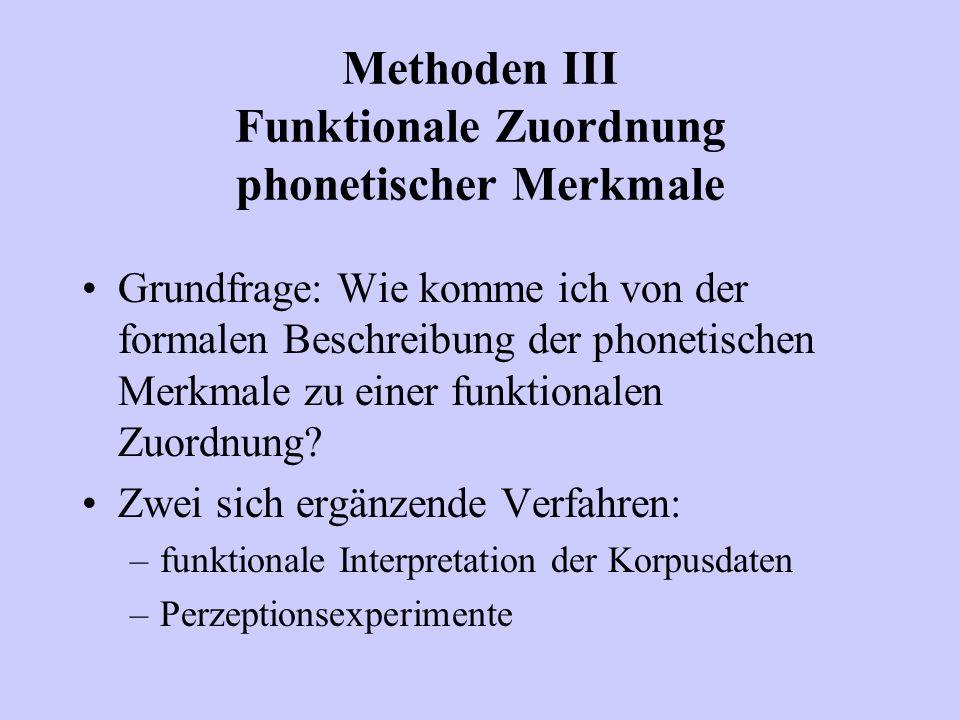 Methoden III Funktionale Zuordnung phonetischer Merkmale Grundfrage: Wie komme ich von der formalen Beschreibung der phonetischen Merkmale zu einer fu
