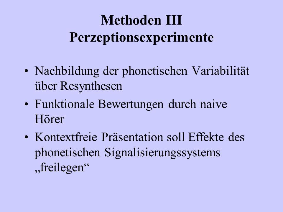 Methoden III Perzeptionsexperimente Nachbildung der phonetischen Variabilität über Resynthesen Funktionale Bewertungen durch naive Hörer Kontextfreie