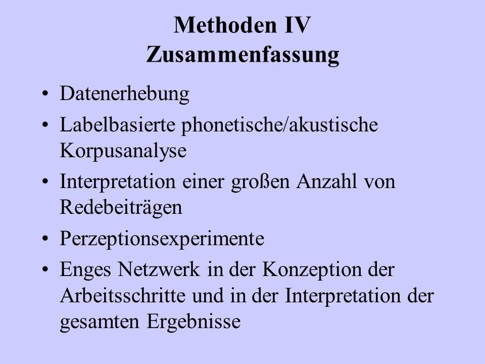 Methoden IV Zusammenfassung Datenerhebung Labelbasierte phonetische/akustische Korpusanalyse Interpretation einer großen Anzahl von Redebeiträgen Perz