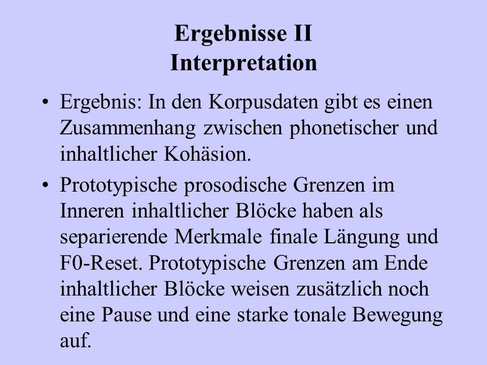Ergebnisse II Interpretation Ergebnis: In den Korpusdaten gibt es einen Zusammenhang zwischen phonetischer und inhaltlicher Kohäsion. Prototypische pr