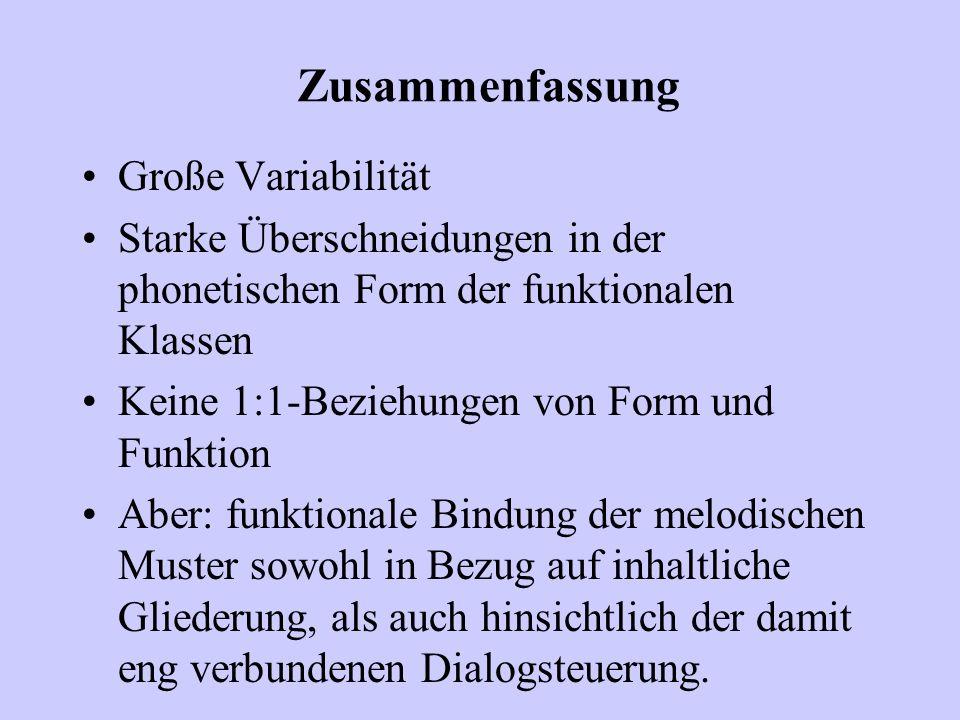 Zusammenfassung Große Variabilität Starke Überschneidungen in der phonetischen Form der funktionalen Klassen Keine 1:1-Beziehungen von Form und Funkti