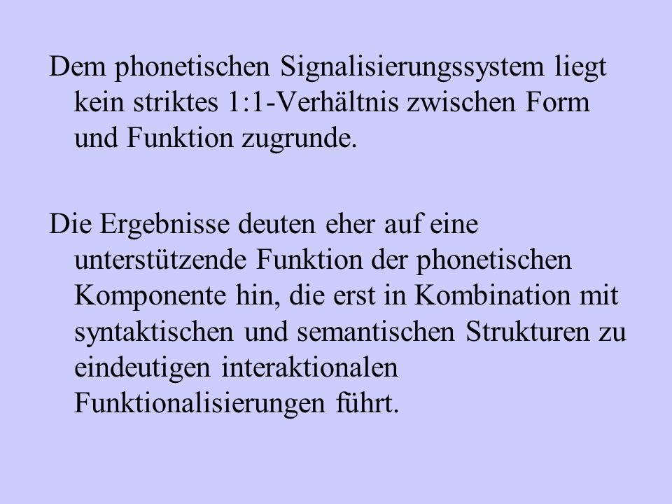 Dem phonetischen Signalisierungssystem liegt kein striktes 1:1-Verhältnis zwischen Form und Funktion zugrunde. Die Ergebnisse deuten eher auf eine unt