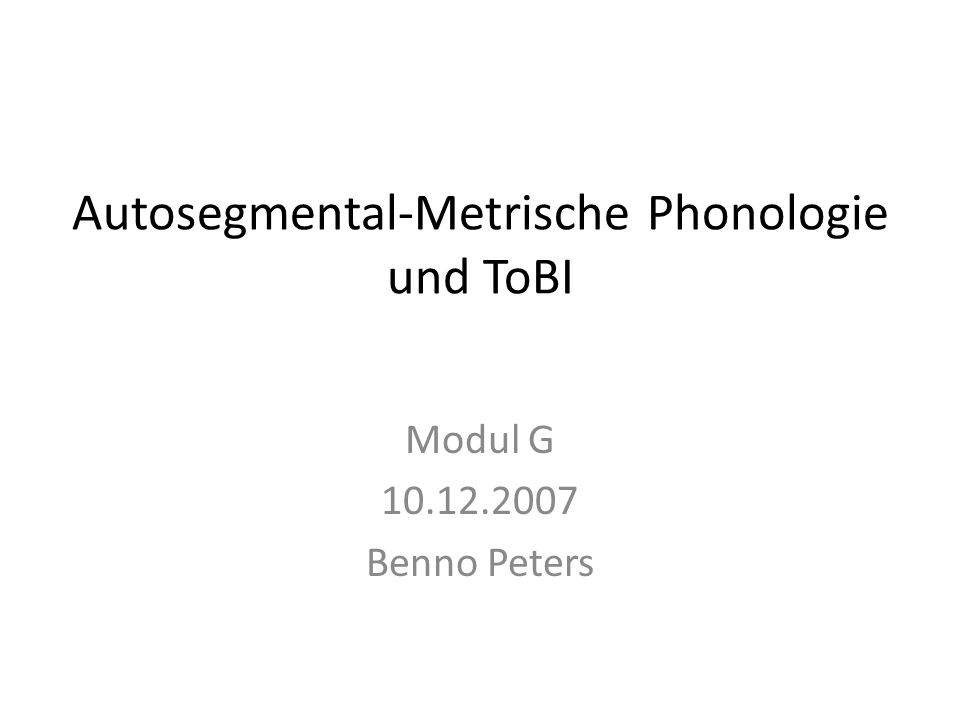 Autosegmental-Metrische Phonologie und ToBI 2 Pierrehumbert (1980) The Phonology and Phonetics of English Intonation Tonale Ebene (To) und break indices (BI) Beschreibung hierarchischer Einheiten und deren Delimitation (z.B.