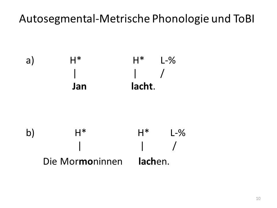 Autosegmental-Metrische Phonologie und ToBI 10 a) H* H* L-% | | / Jan lacht. b) H* H* L-% | | / Die Mormoninnen lachen.