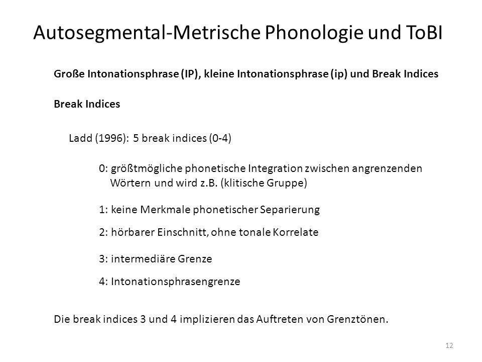 Autosegmental-Metrische Phonologie und ToBI 12 Break Indices Große Intonationsphrase (IP), kleine Intonationsphrase (ip) und Break Indices Ladd (1996)
