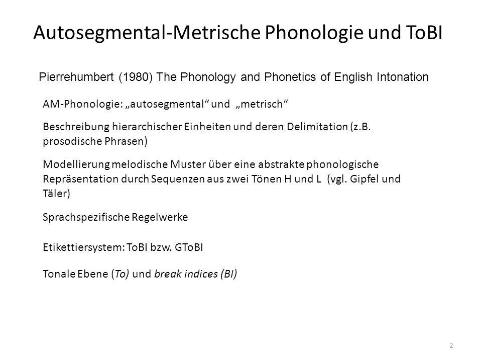 Autosegmental-Metrische Phonologie und ToBI 13 Die Struktur von Äußerungen Äußerungen bestehen aus einer oder mehreren Intonationsphrasen Intonationsphrasen bestehen aus einer oder mehreren Intermediärphrasen Grenztöne treten an den Grenzen von Intonationsphrasen auf Grenztöne treten an den Grenzen von Intermediärphrasen auf Jeder Intermediärphrase hat mindestend einen pitch accent