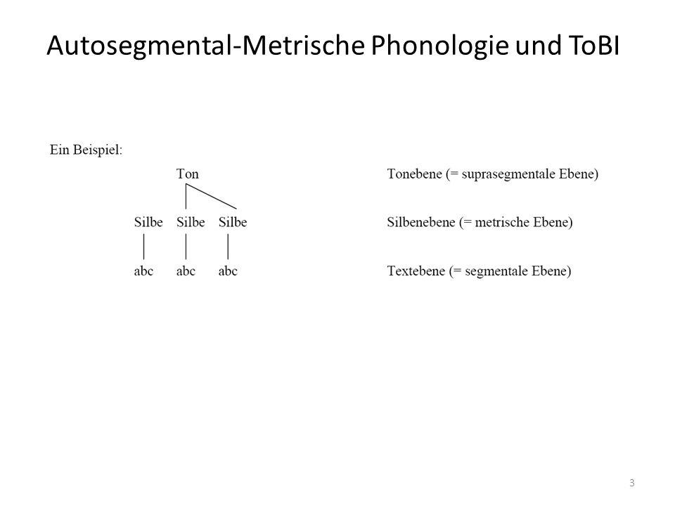 4 Tonakzente Hervorhebung von Information Assoziation von Tönen mit lexikalisch starken (stressed) Silben (markiert durch *) abstrakte phonologische Repräsentation durch Sequenzen aus zwei Tönen mono- (z.B.