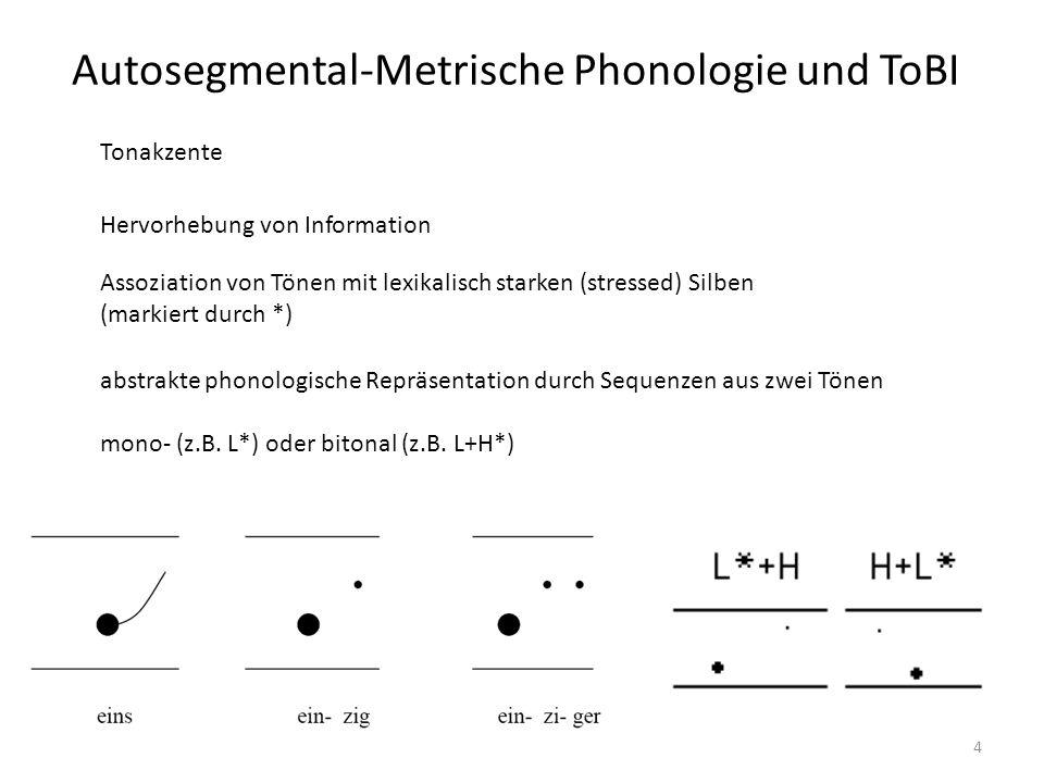 Autosegmental-Metrische Phonologie und ToBI 5 Basiselemente Tonakzente (pitch accents) Durch F0-Bewegung hervorgerufene Satzakzente vor dem Phrasenakzent Phrasenakzente (phrase accents) letzter Satzakzent einer Phrase auch: Tonverlaufs zw.