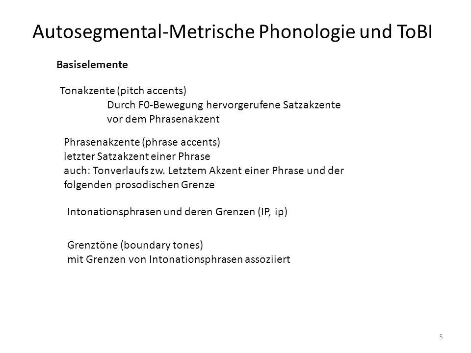 Autosegmental-Metrische Phonologie und ToBI 6 Zwei Akzenttypen: (1) Prenukleare Akzenteinheit; auch Head genannt (2) Nukleare Akzenteinheit; auch Nucleus genannt Der nukleare Akzent ist der letzte Akzent in der IP Der Head beinhaltet alle prenukleare Akzente
