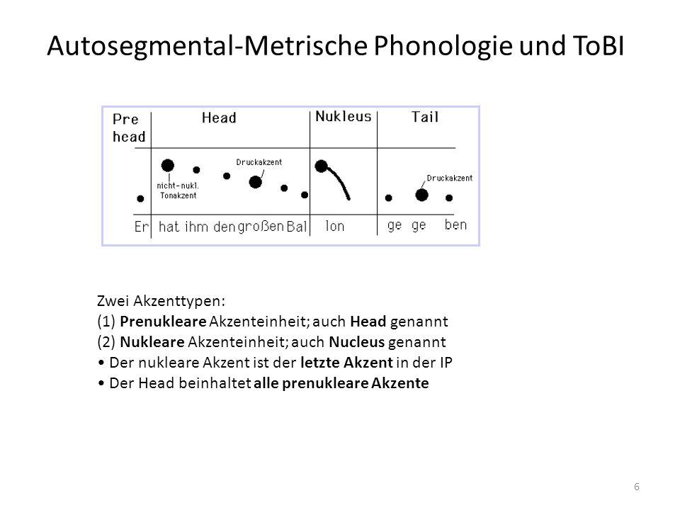 Autosegmental-Metrische Phonologie und ToBI 6 Zwei Akzenttypen: (1) Prenukleare Akzenteinheit; auch Head genannt (2) Nukleare Akzenteinheit; auch Nucl