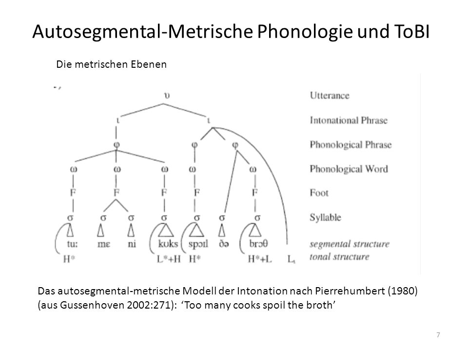 Autosegmental-Metrische Phonologie und ToBI 7 Die metrischen Ebenen Das autosegmental-metrische Modell der Intonation nach Pierrehumbert (1980) (aus G