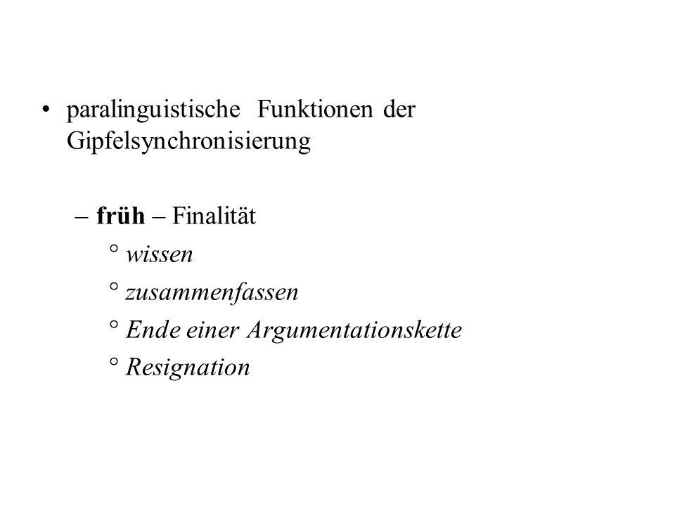 paralinguistische Funktionen der Gipfelsynchronisierung –früh – Finalität °wissen °zusammenfassen °Ende einer Argumentationskette °Resignation