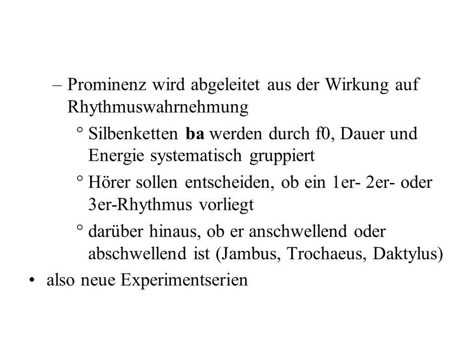 –Pfitzinger's phonometrische perzeptuelle Skalierung, nach der Hörer einen numerischen Wert der 2. vs. der 1. Silbe zuordnen und die zu bewertenden St