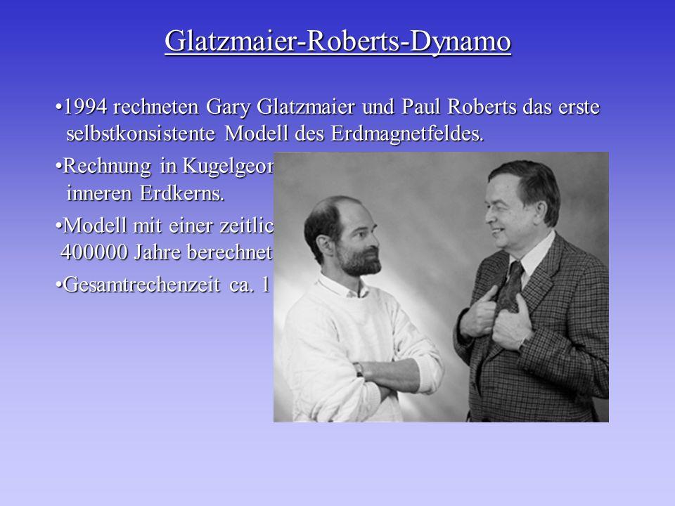 Glatzmaier-Roberts-Dynamo 1994 rechneten Gary Glatzmaier und Paul Roberts das erste selbstkonsistente Modell des Erdmagnetfeldes.1994 rechneten Gary G