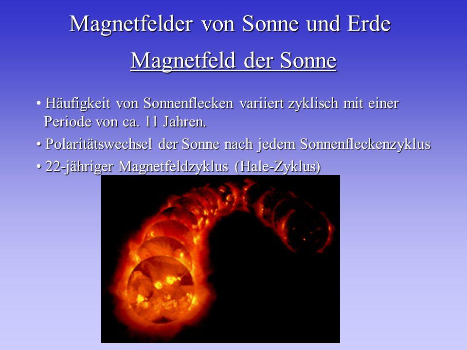 Magnetfelder von Sonne und Erde Magnetfeld der Sonne Häufigkeit von Sonnenflecken variiert zyklisch mit einer Periode von ca. 11 Jahren. Polaritätswec