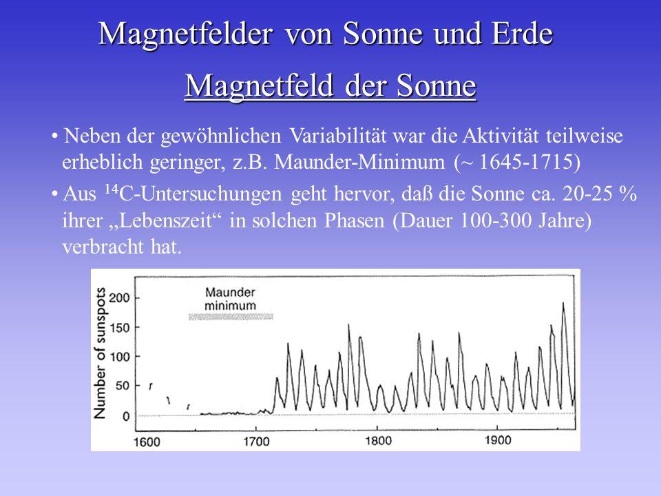 Magnetfelder von Sonne und Erde Magnetfeld der Sonne Neben der gewöhnlichen Variabilität war die Aktivität teilweise erheblich geringer, z.B. Maunder-