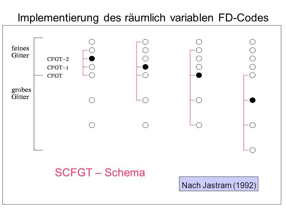 Implementierung des räumlich variablen FD-Codes Nach Jastram (1992) SCFGT – Schema