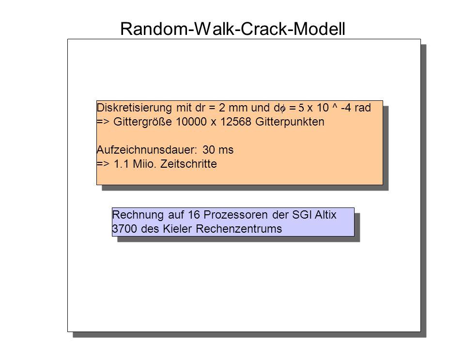 Random-Walk-Crack-Modell Diskretisierung mit dr = 2 mm und d x 10 ^ -4 rad => Gittergröße 10000 x 12568 Gitterpunkten Aufzeichnunsdauer: 30 ms => 1.1