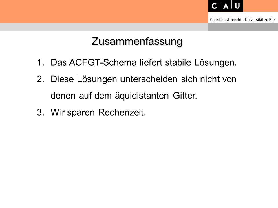 Zusammenfassung Zusammenfassung 1.Das ACFGT-Schema liefert stabile Lösungen. 2.Diese Lösungen unterscheiden sich nicht von denen auf dem äquidistanten