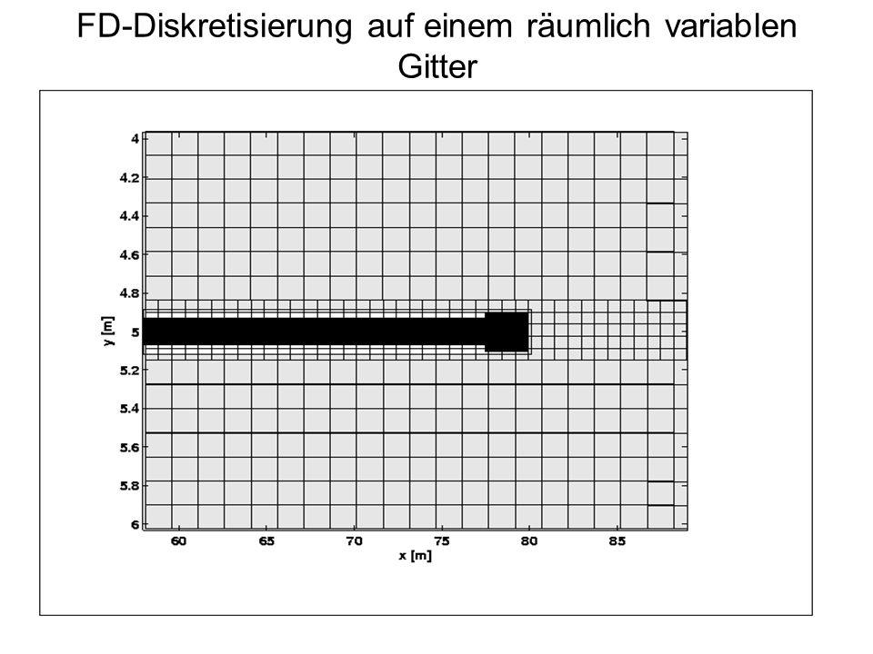 FD-Diskretisierung auf einem räumlich variablen Gitter