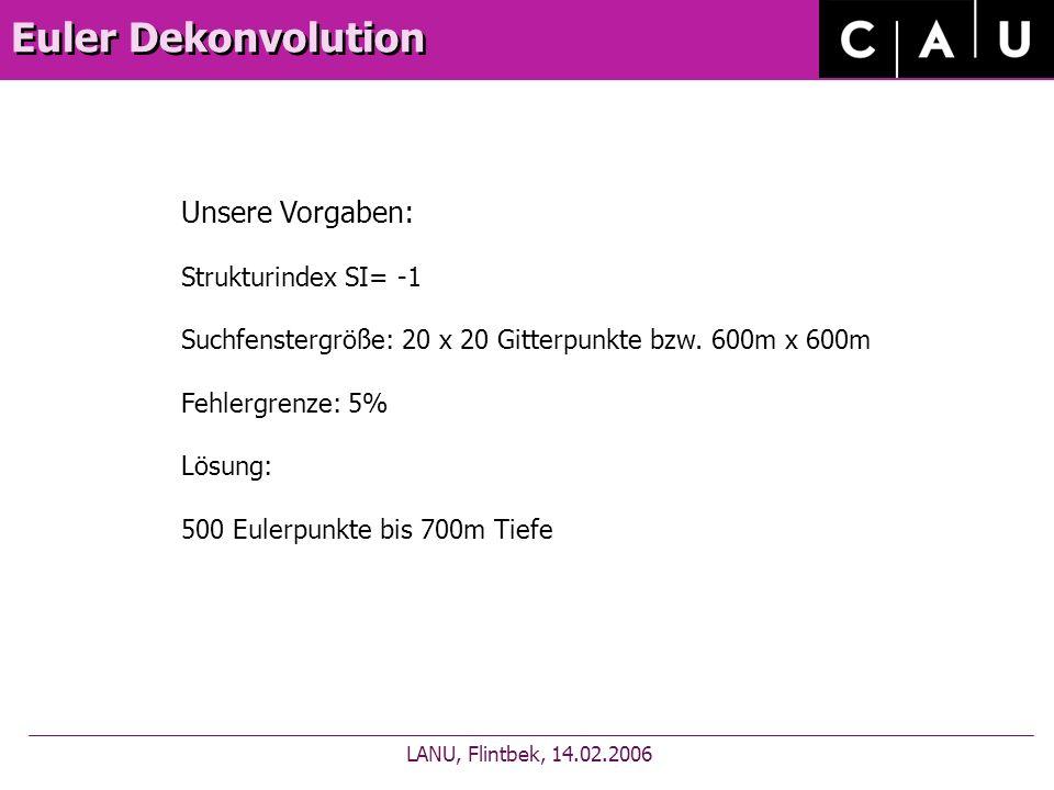 Euler Dekonvolution LANU, Flintbek, 14.02.2006 Unsere Vorgaben: Strukturindex SI= -1 Suchfenstergröße: 20 x 20 Gitterpunkte bzw.