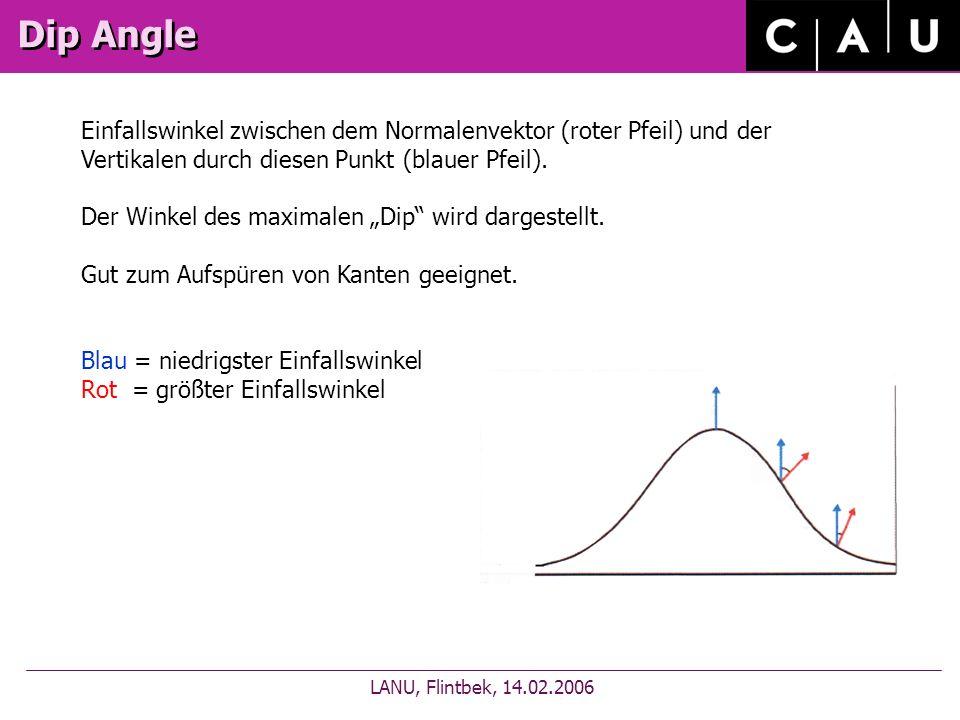 Dip Angle LANU, Flintbek, 14.02.2006 Einfallswinkel zwischen dem Normalenvektor (roter Pfeil) und der Vertikalen durch diesen Punkt (blauer Pfeil).