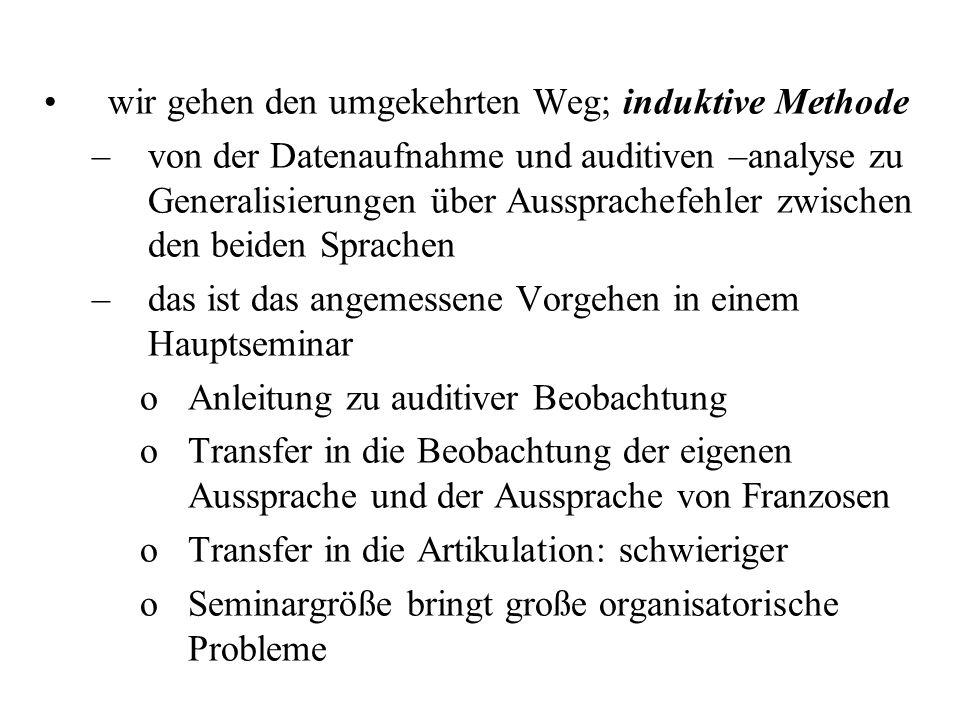 Deduktive und induktive Methode in der Wissenschaft seit mindestens 1 Jahrhundert Beschäftigung mit Phonetik des Deutschen und des Französischen sowie