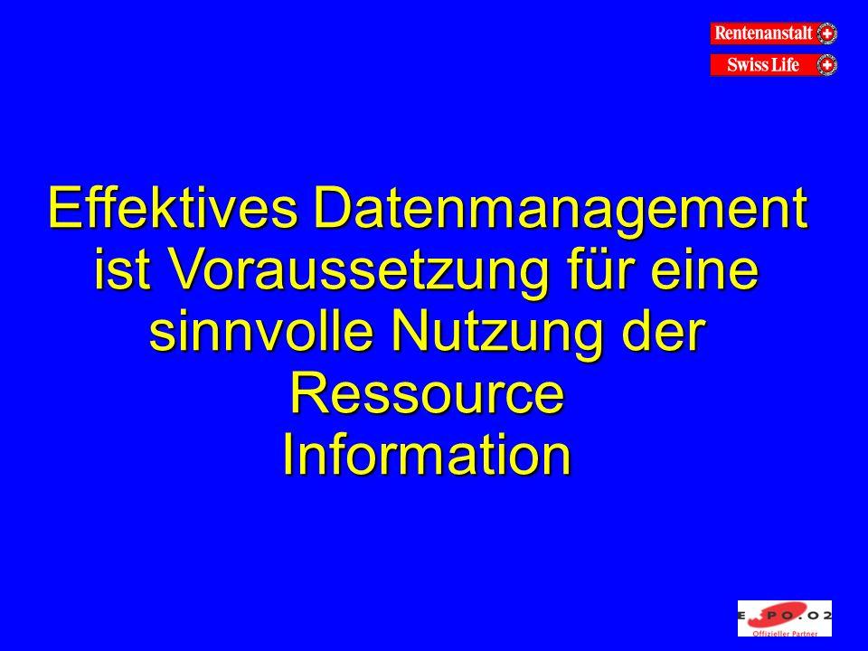 Effektives Datenmanagement ist Voraussetzung für eine sinnvolle Nutzung der Ressource Information
