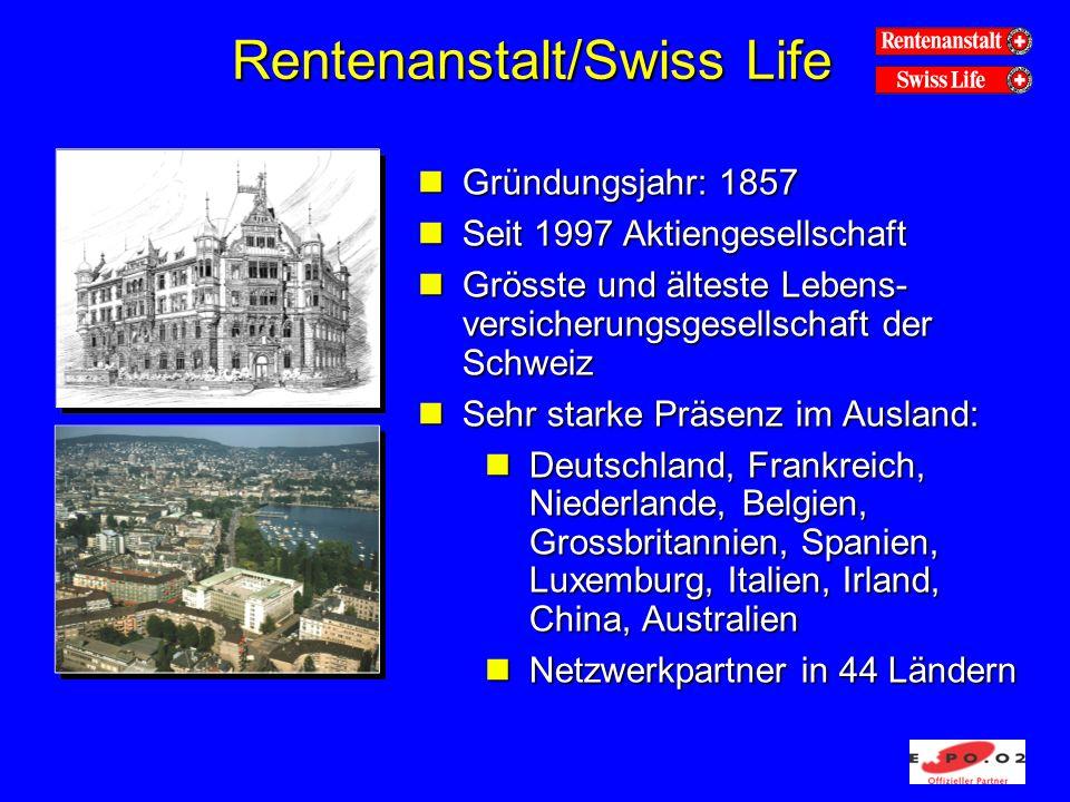 Rentenanstalt/Swiss Life nGründungsjahr: 1857 nSeit 1997 Aktiengesellschaft nGrösste und älteste Lebens- versicherungsgesellschaft der Schweiz nSehr s
