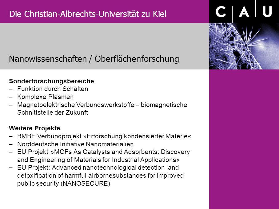 Die Christian-Albrechts-Universität zu Kiel Nanowissenschaften / Oberflächenforschung Sonderforschungsbereiche – Funktion durch Schalten – Komplexe Pl