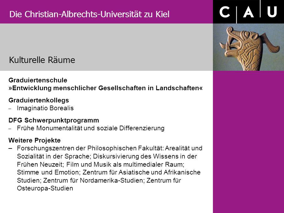 Die Christian-Albrechts-Universität zu Kiel Kulturelle Räume Graduiertenschule »Entwicklung menschlicher Gesellschaften in Landschaften« Graduiertenko