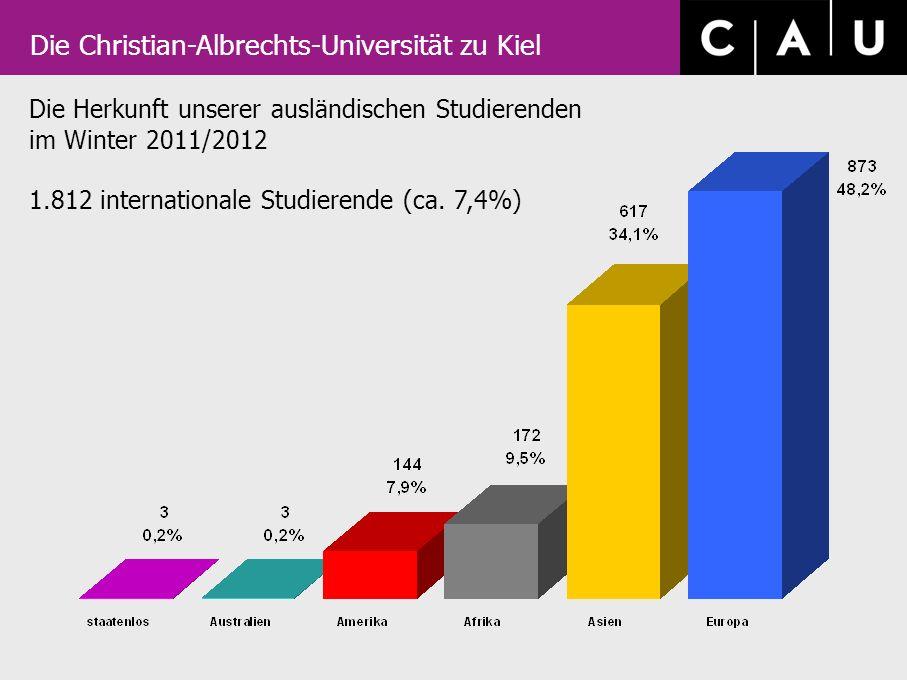 Die Christian-Albrechts-Universität zu Kiel Die Herkunft unserer ausländischen Studierenden im Winter 2011/2012 1.812 internationale Studierende (ca.