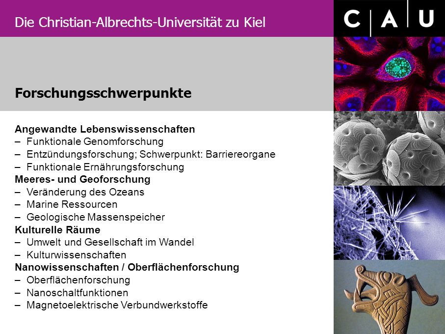 Die Christian-Albrechts-Universität zu Kiel Unsere internationalen Programme –Materials Science M.Sc.