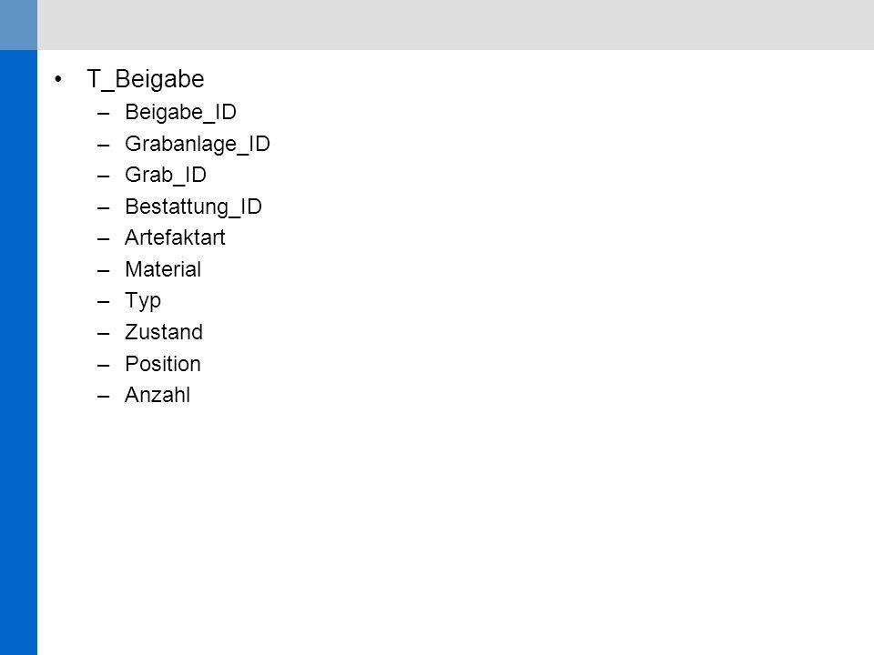 T_Beigabe –Beigabe_ID –Grabanlage_ID –Grab_ID –Bestattung_ID –Artefaktart –Material –Typ –Zustand –Position –Anzahl