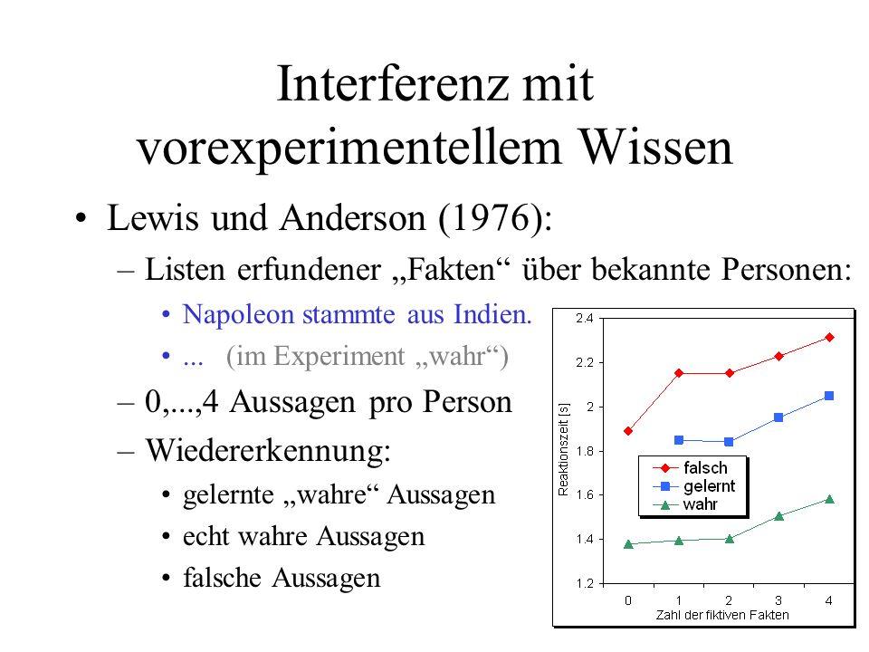 Interferenz mit vorexperimentellem Wissen Lewis und Anderson (1976): –Listen erfundener Fakten über bekannte Personen: Napoleon stammte aus Indien....