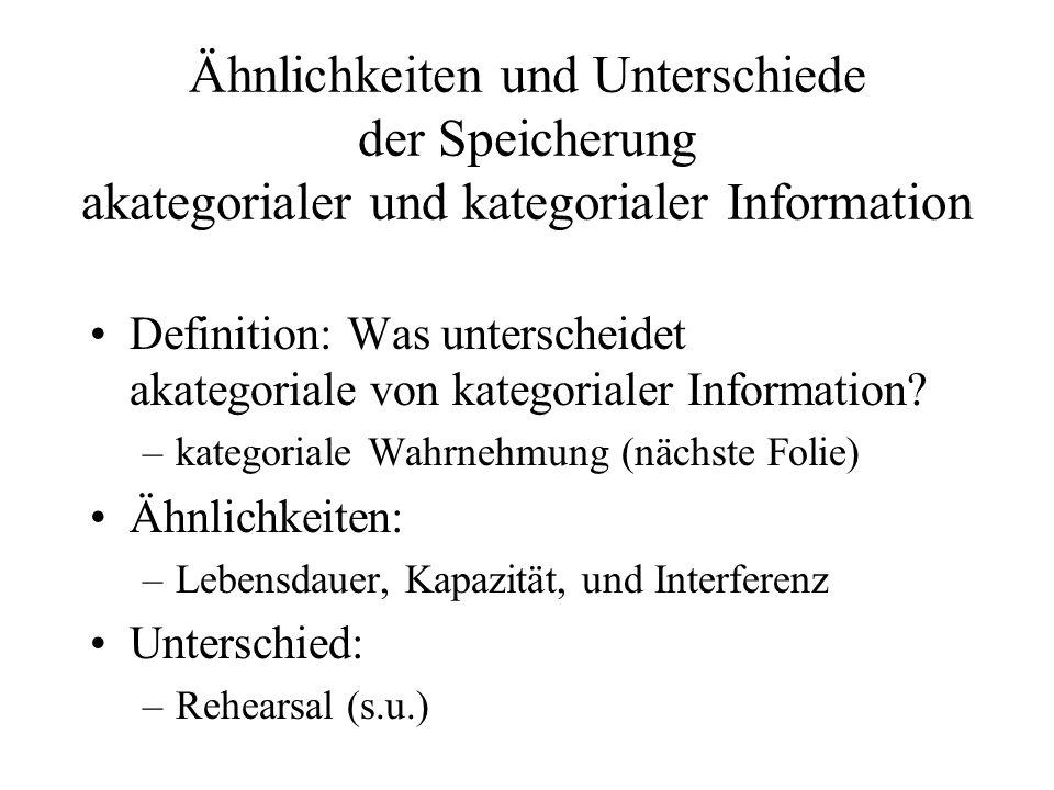 Ähnlichkeiten und Unterschiede der Speicherung akategorialer und kategorialer Information Definition: Was unterscheidet akategoriale von kategorialer